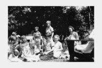 1943 First Graders Outside With Rabbits