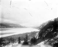 View of ice and snow-covered on Columbia Gorge looking east toward Beacon Rock