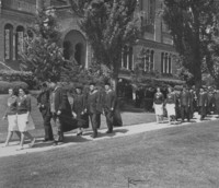 1947 Commencement: Faculty Leaving Library