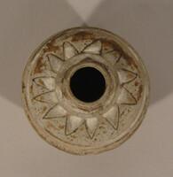 Sawankhalok ware jar, globular body with iron black design of blades at rim