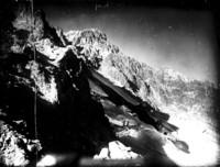 Reverse aerial close-up view of Yocum Ridge and upper Reid Glacier from Illumination Saddle
