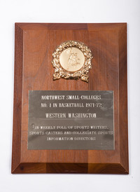 Basketball (Men's) Plaque: Northwest Small-Colleges No. 1 in Basketball, 1971/1972