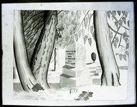 Negative copy of image in watercolor of cemetery scene showing gravestone of James (a.k.a. Jimmy) Tilton Picket, among tall trees