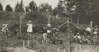 1929 First Grade Class Working In Garden