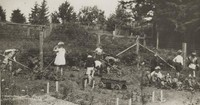1929 First Grade Class Working In Garden