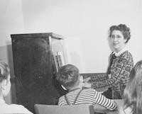 1947 Mira Booth With Students