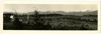 Panorama of wilderness with small C.A.A. Radio Station building and towers in distance