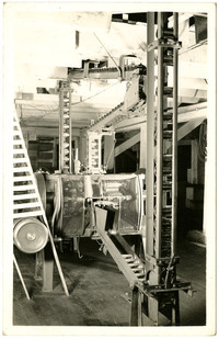 Postcard of food processing machinery, possibly for salmon canning