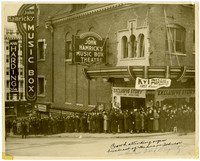 A huge crowd lined up to see Gunnar Anderson at the John Hamrick's Music Box Theatre in Tacoma.