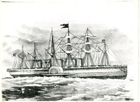 Drawing of a large, multi-masted steam-sail vessel