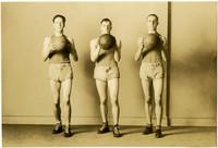 Three Fairhaven Boys' basketball players pose with basketballs