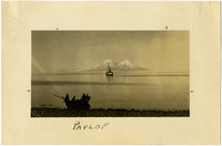 Rowboat leaves shore as fishing vessel cruises waters with Pavlof Mountains in distance