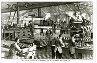 Photograph of drawing of M.J. Kinney cannery, Astoria, Oregon, with mostly Chinese workforce