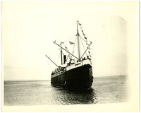 """View of bow of Pacific American Fisheries' passenger freight ship """"Catherine D.""""  with banners waving"""