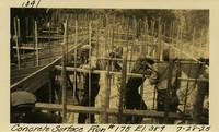Lower Baker River dam construction 1925-07-28 Concrete Surface Run #175 El.389