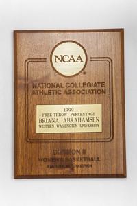 Basketball (Women's) Plaque: NCAA Division 2 Statistical Champion, Free-throw percentage, Briana Abrahamsen, 1999