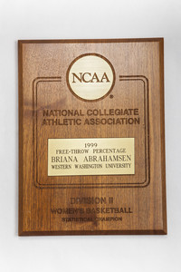 Basketball (Women's) Plaque: NCAA Division 2 Statistical Champion, Free-throw percentage, Briana Abrahamsen, 1999