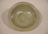Sawankhalok ware bowl, grooved exterior; interior with combed band
