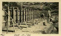 Lower Baker River dam construction 1924-10-17 Form work, concrete at base of dam, 2nd tier of concrete