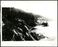 Cove at Chuckanut Inlet with railroad tracks skirting the mountainside