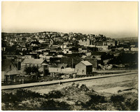 View of early Fairhaven, Whatcom County, WA, looking toward South Hill, with several former landmark buildings visible