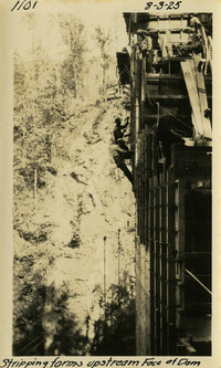 Lower Baker River dam construction 1925-08-03 Stripping Forms Upstream Face of Dam