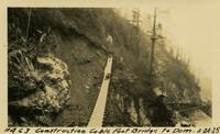 Lower Baker River dam construction 1925-04-24 Construction Cable Foot Bridge to Dam