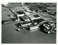 Aerial view of unidentified industrial waterfront