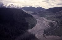 Aerial view of the South Fork of the Toutle River, mountain in background.