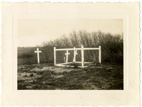 Naknet Cannery - Tiny, hilltop fenced-in gravesite with three grave markers