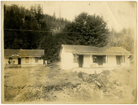 Two small one-story vertical frame cottages stand on rough ground at base of forested slope