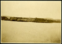 View from water of docks and warehouses of Pacific American Fisheries cannery at Anacortes, WA