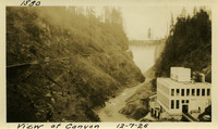 Lower Baker River dam construction 1925-12-07 View of Canyon (with powerhouse foreground, dam in background)