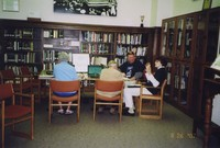2007 Reunion--June (Carrick) Russell, Earl Cilley, Marian Alexander and Peter Smith in Special Collections Exploring the Campus School Photo Gallery
