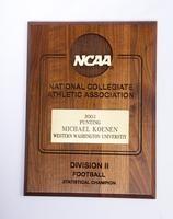 Football Plaque: NCAA Division 2 Statistic Champion, Michael Koenen, punting,             2002