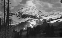 View of snow-covered, glaciated Mount Baker from possibly the Skyline Divide or Cougar Divide trail.