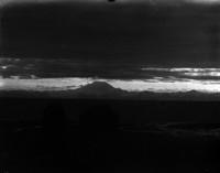 View of unidentified mountain range, large mountain dominates the vista.