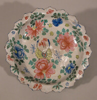 Bencharong footed dish, exterior with green enamels, interior with white flowers