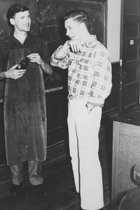 1948 Keith Booman and Larry Wilson in Chemistry Laboratory