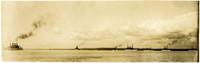 "Several of US Navy's ""The Great White Fleet"" of battle ships cruise Bellingham Bay"