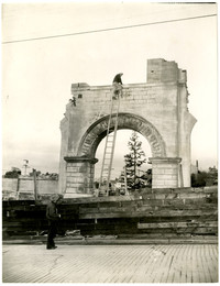 Unidentified arched structure that appears to be being demolished, possibly part of the Fairhaven Hotel