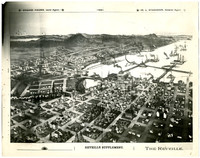 Jimmy Pickett sketch of Bellingham Bay--Birds-eye view of Whatcom / New Whatcom, with Fairhaven, Lake Whatcom and Mt. Baker in distance.