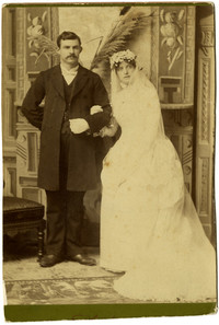 """Wedding portrait of Charlotte """"Lottie Roeder Roth and Charles I. Roth"""