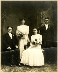Unidentified couples - possibly a wedding photograph