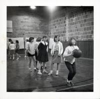 1965 Girls Practicing Foul Shots for Basketball
