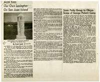 Photocopied article with image of monument to George Pickett
