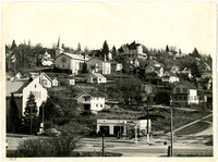 View of South Hill neighborhood with Wardner Castle seen on crest of hill, south Bellingham, WA