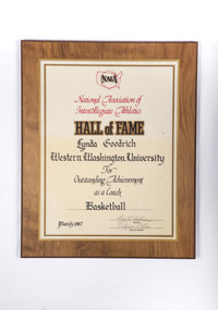 Basketball (Women's) Plaque: NAIA Hall of Fame, Lynda Goodrich, Basketball Coach, 1987-03