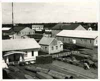 Several buildings, both houses and warehouses, at the Pacific American Fisheries cannery, Dillingham, Alaska
