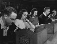 1946 Library: Students at Reading Room Table